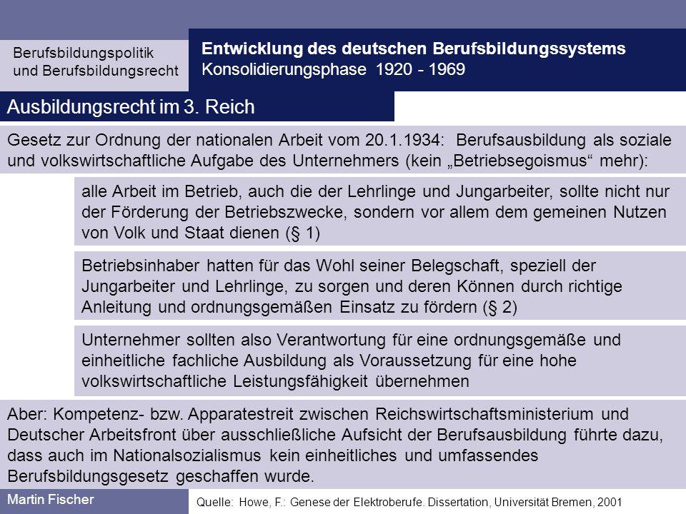 Ausbildungsrecht im 3. Reich