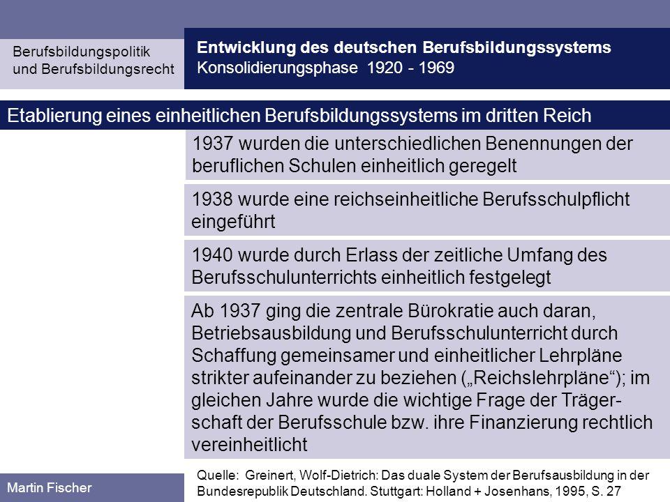 Etablierung eines einheitlichen Berufsbildungssystems im dritten Reich