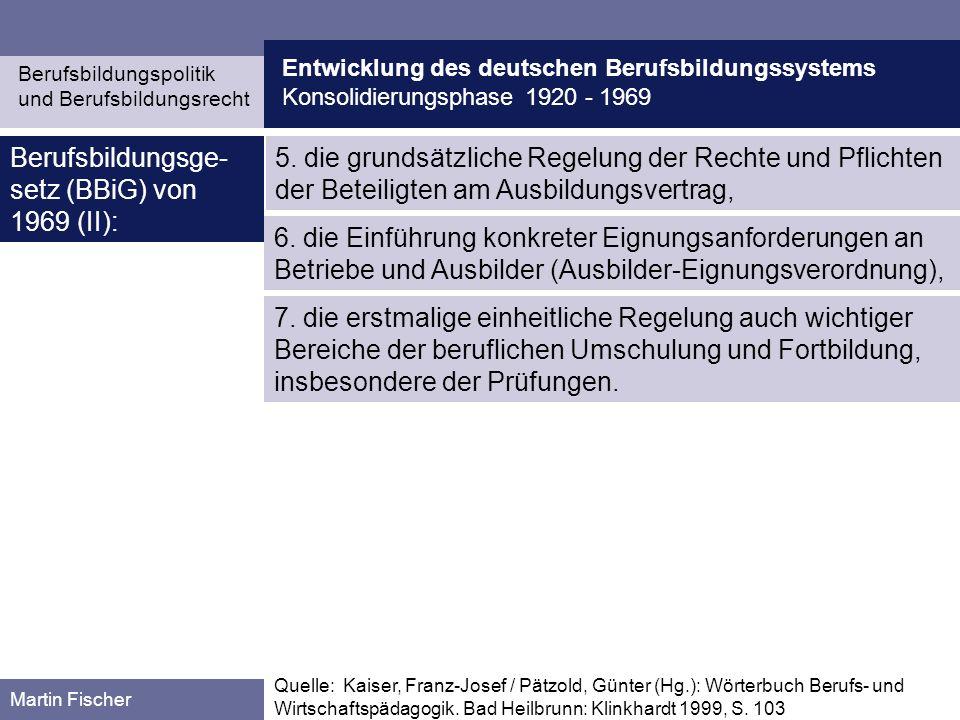 Berufsbildungsge-setz (BBiG) von 1969 (II):