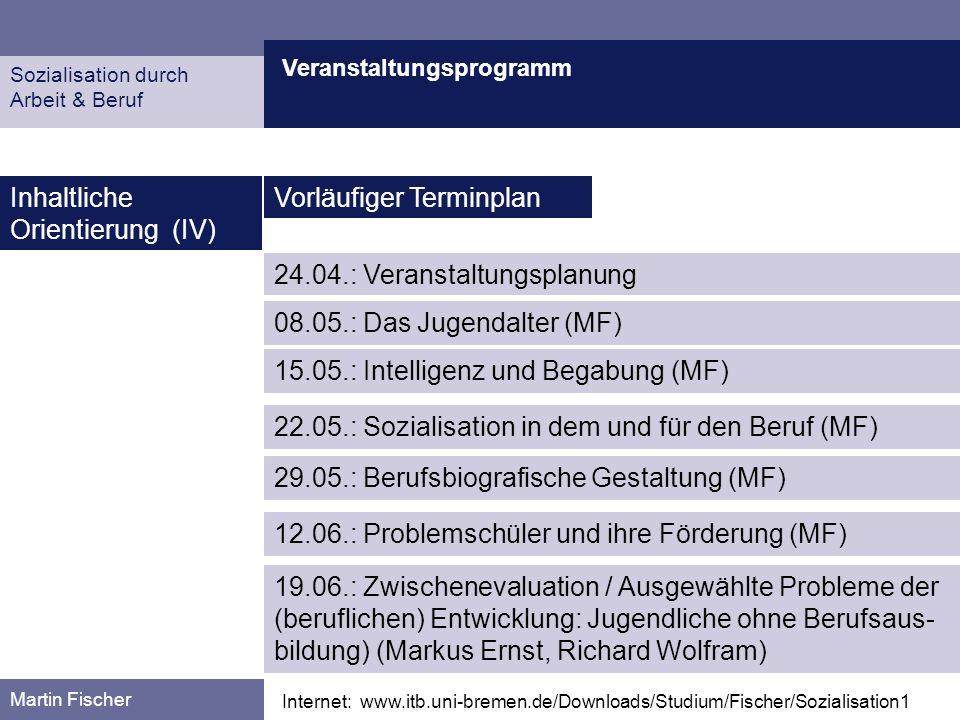 Inhaltliche Orientierung (IV) Vorläufiger Terminplan