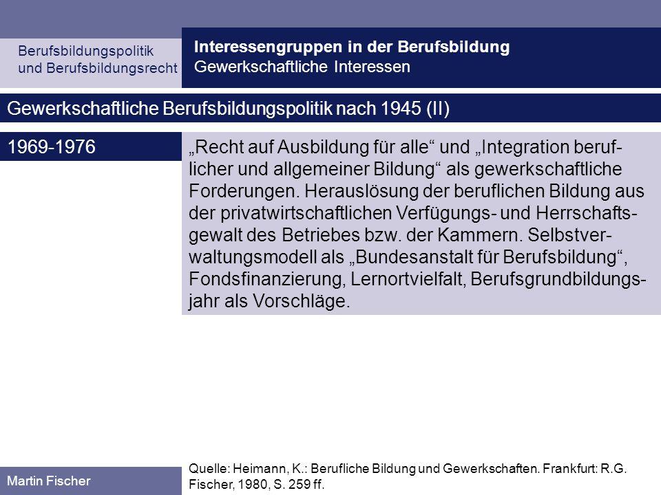 Gewerkschaftliche Berufsbildungspolitik nach 1945 (II)