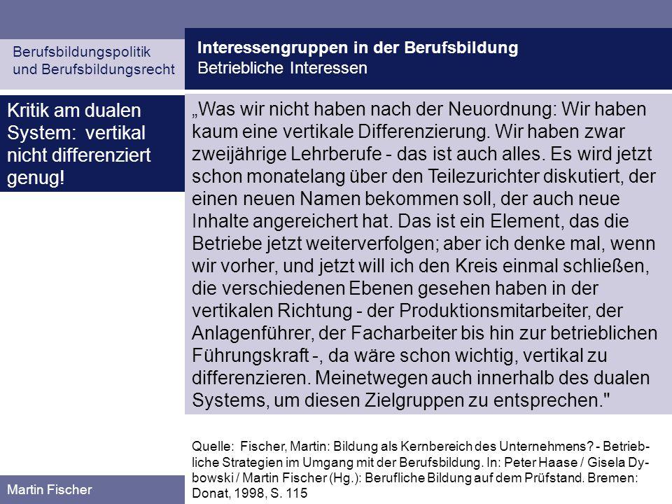 Kritik am dualen System: vertikal nicht differenziert genug!