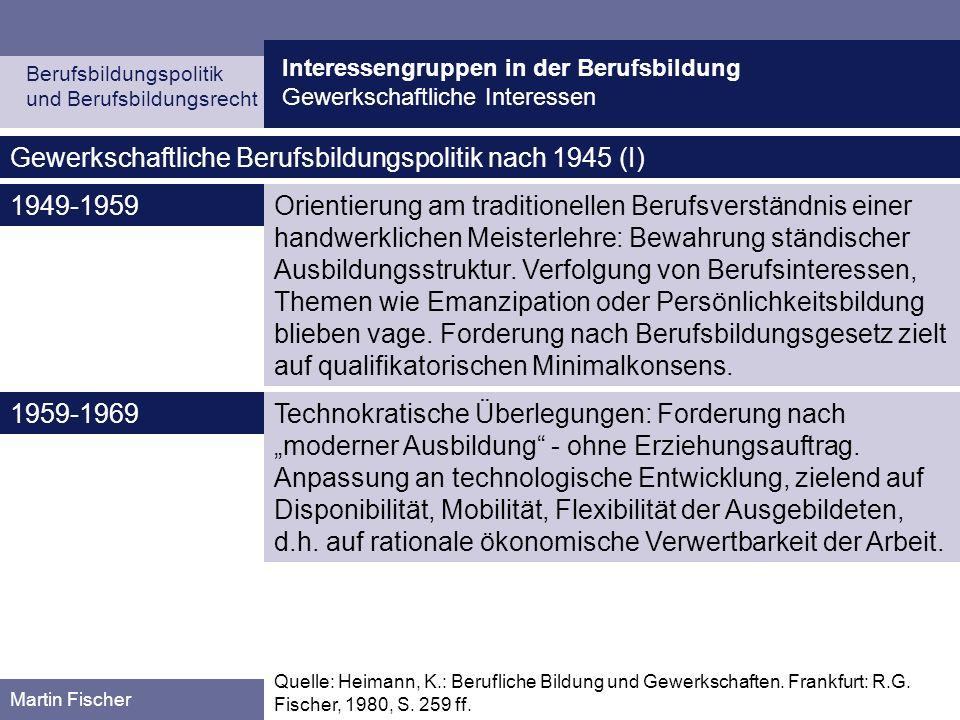 Gewerkschaftliche Berufsbildungspolitik nach 1945 (I)