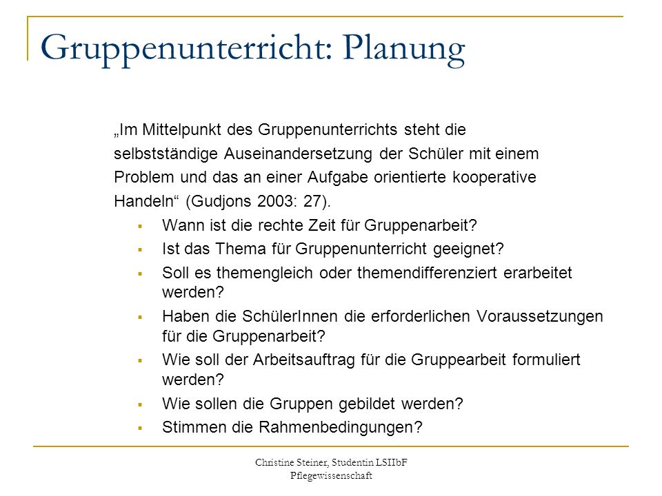 Gruppenunterricht: Planung