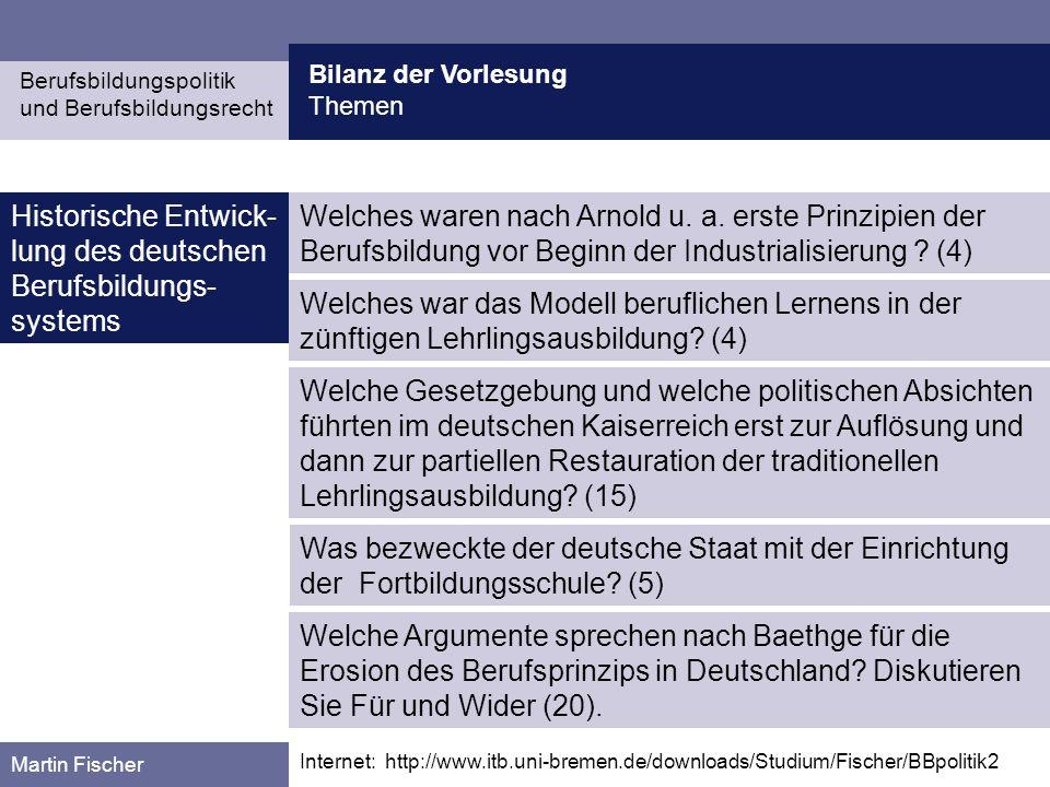 Historische Entwick-lung des deutschen Berufsbildungs-systems