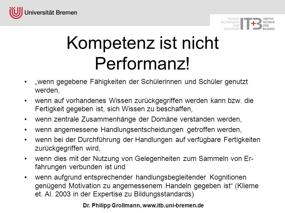 Kompetenz ist nicht Performanz!
