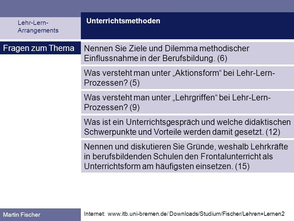 """Was versteht man unter """"Aktionsform bei Lehr-Lern-Prozessen (5)"""