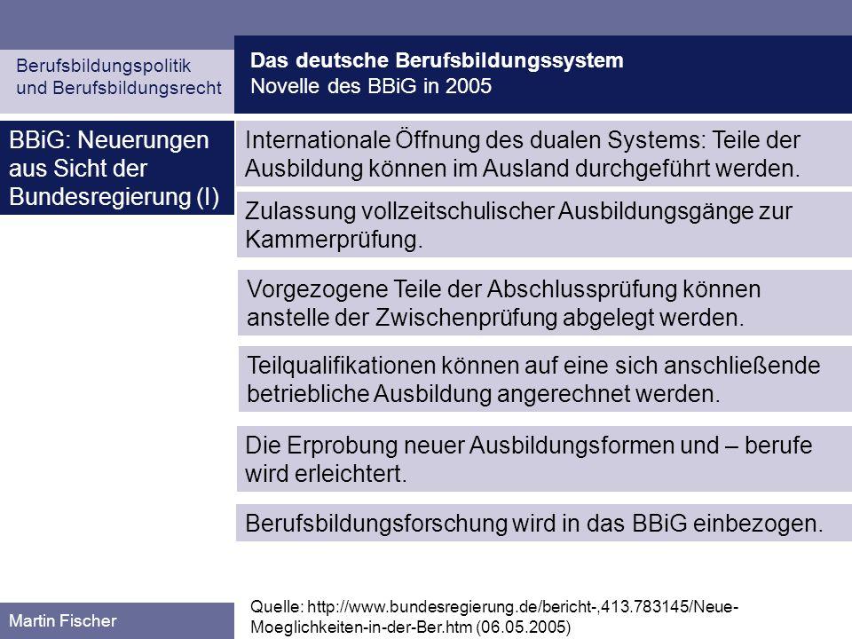BBiG: Neuerungen aus Sicht der Bundesregierung (I)