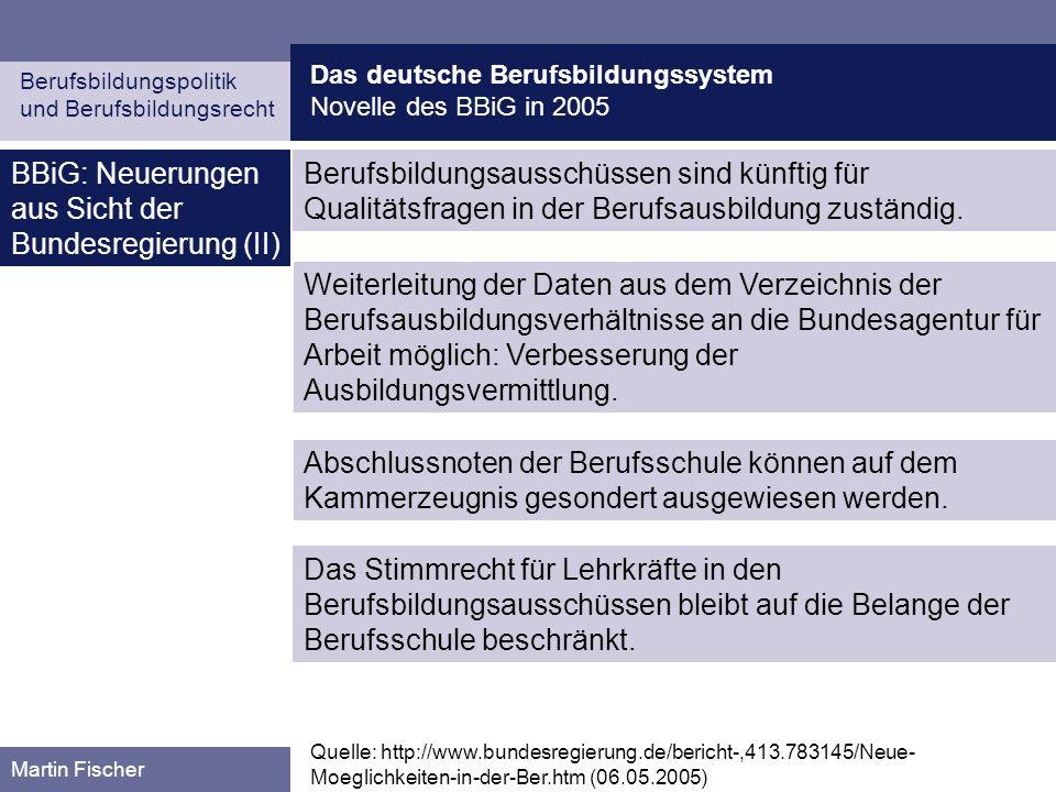 BBiG: Neuerungen aus Sicht der Bundesregierung (II)
