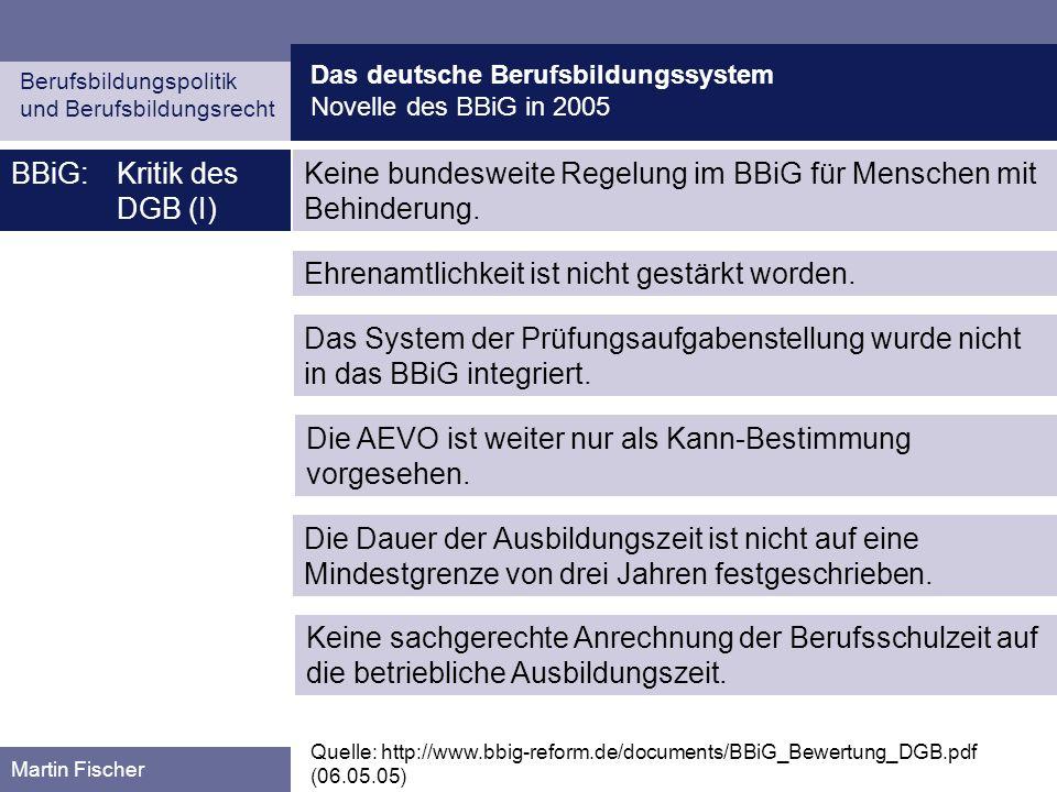 BBiG: Kritik des DGB (I)