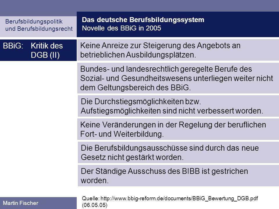 BBiG: Kritik des DGB (II)