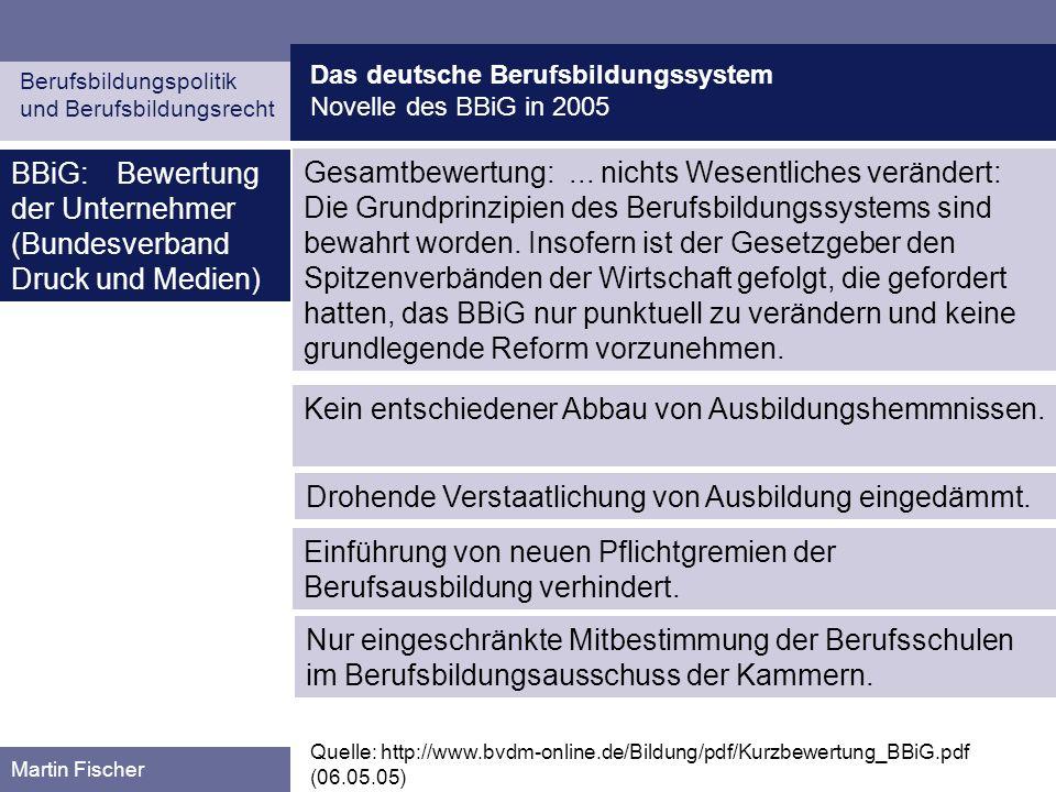 BBiG: Bewertung der Unternehmer (Bundesverband Druck und Medien)