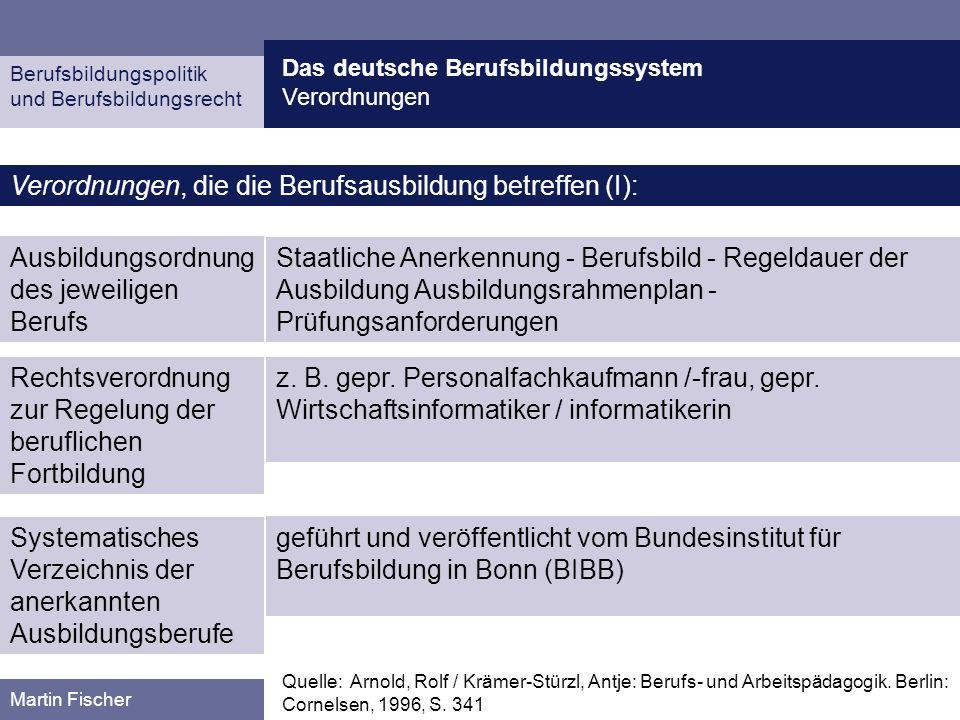 Verordnungen, die die Berufsausbildung betreffen (I):