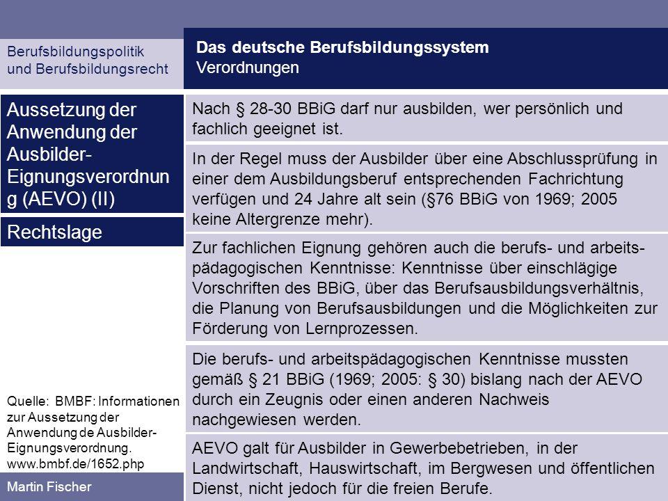 Aussetzung der Anwendung der Ausbilder-Eignungsverordnung (AEVO) (II)