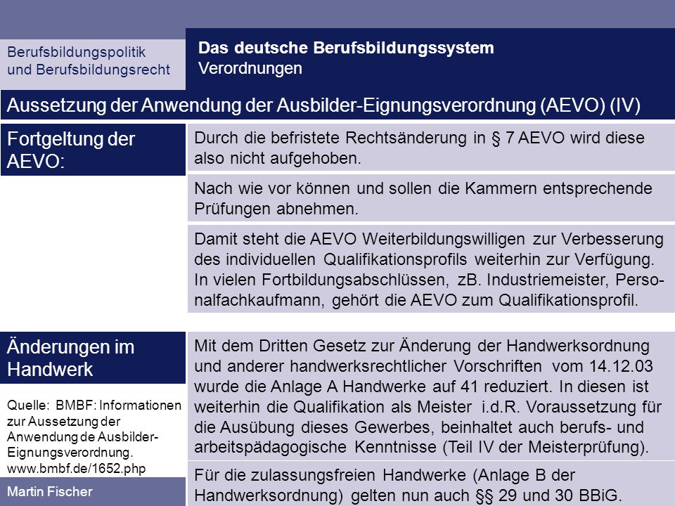 Aussetzung der Anwendung der Ausbilder-Eignungsverordnung (AEVO) (IV)