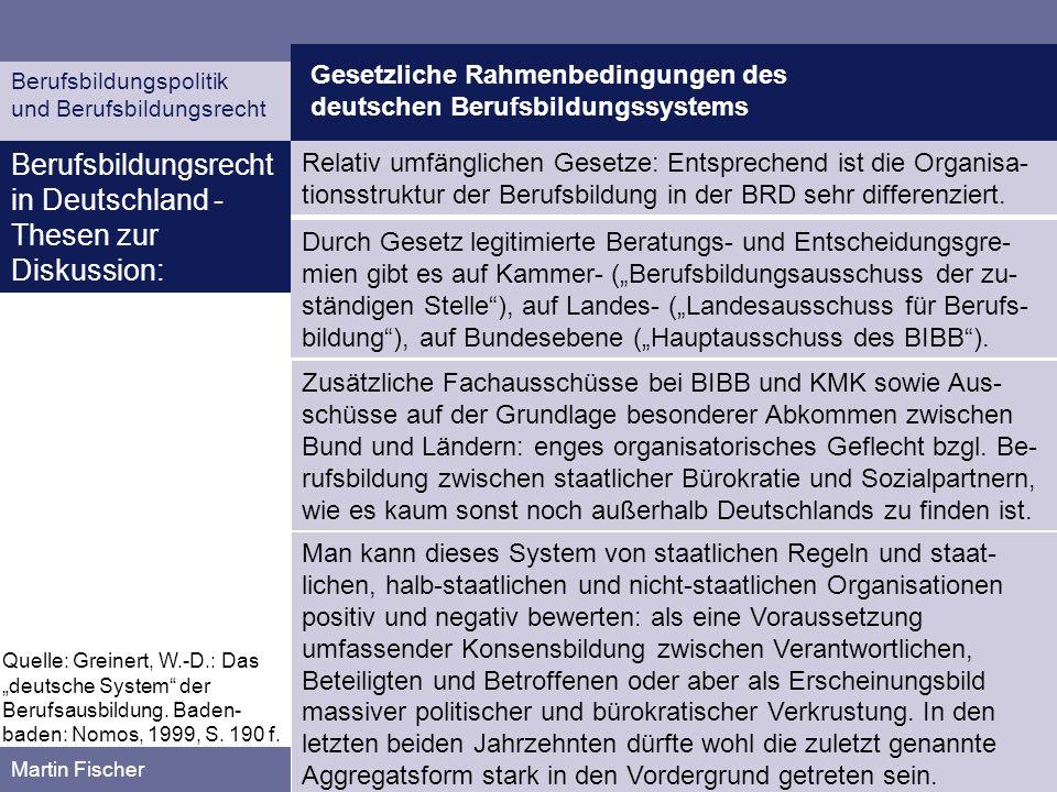 Berufsbildungsrecht in Deutschland - Thesen zur Diskussion: