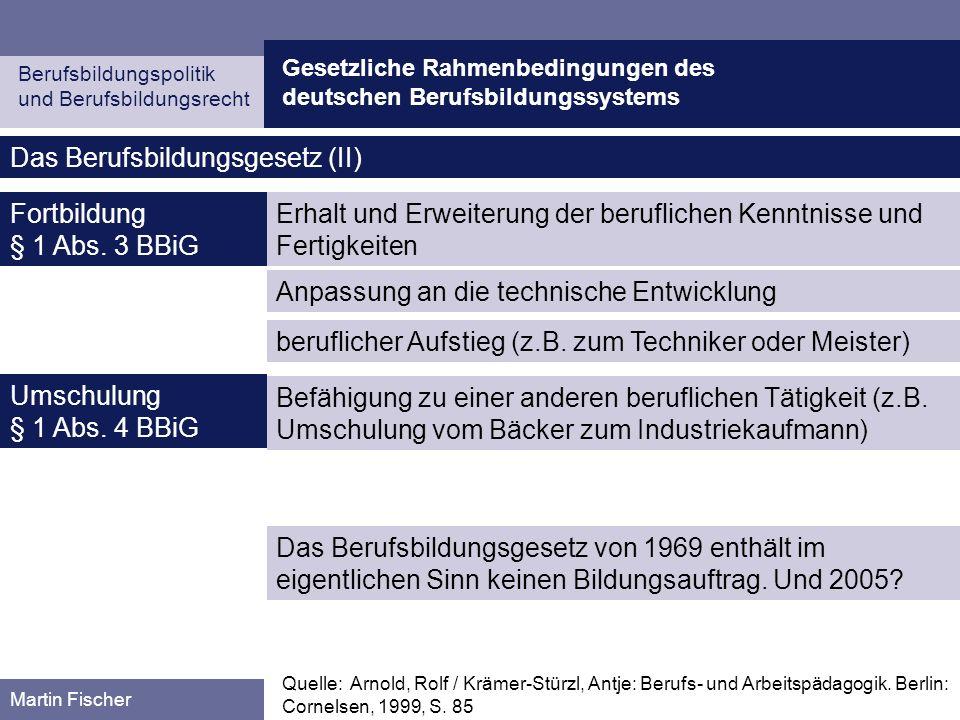 Das Berufsbildungsgesetz (II)