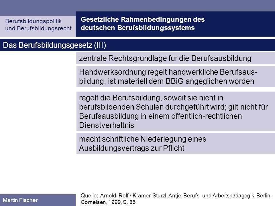 Das Berufsbildungsgesetz (III)