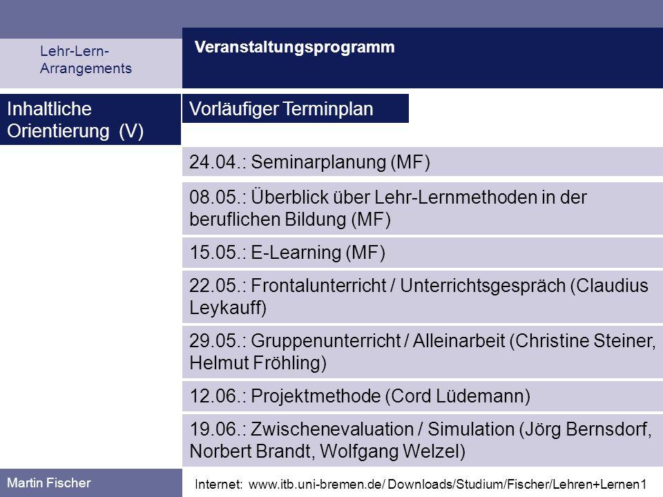 Inhaltliche Orientierung (V) Vorläufiger Terminplan