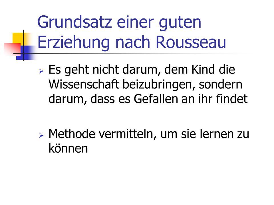 Grundsatz einer guten Erziehung nach Rousseau