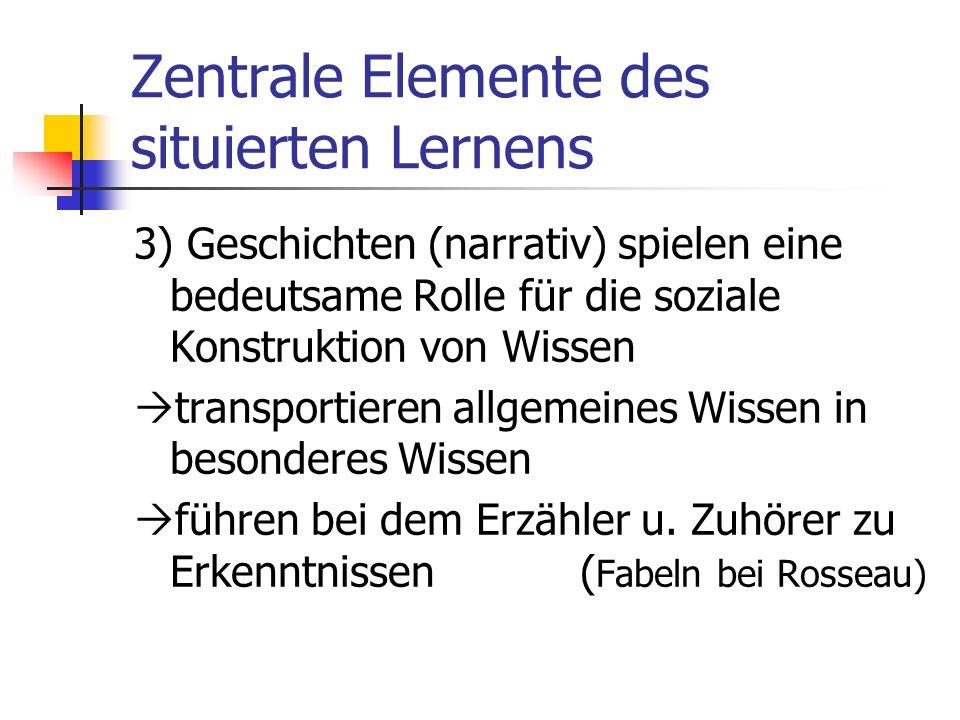 Zentrale Elemente des situierten Lernens