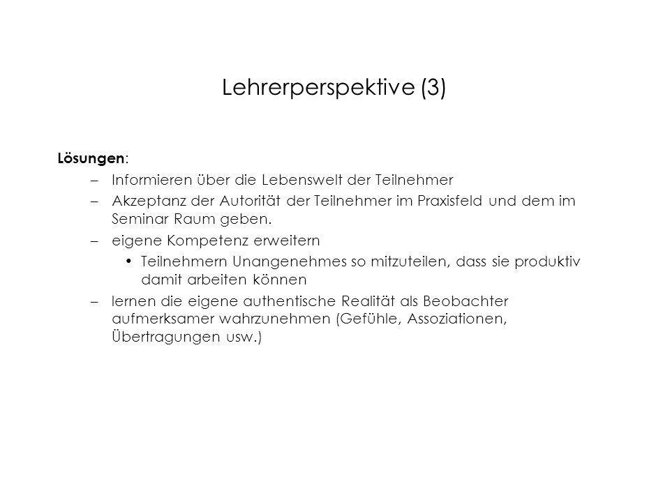 Lehrerperspektive (3) Lösungen: