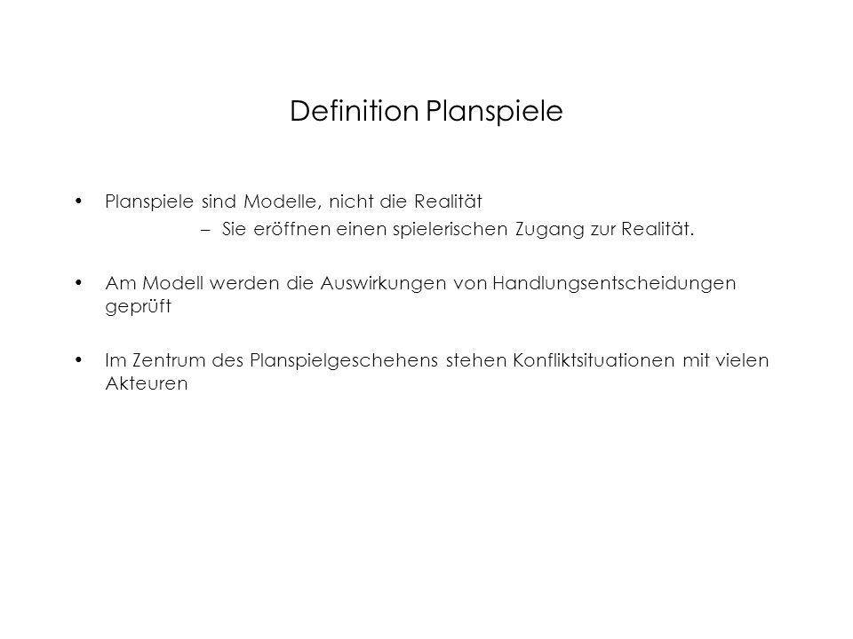 Definition Planspiele