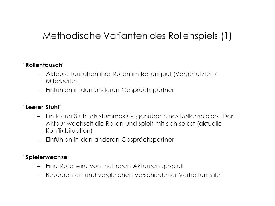 Methodische Varianten des Rollenspiels (1)