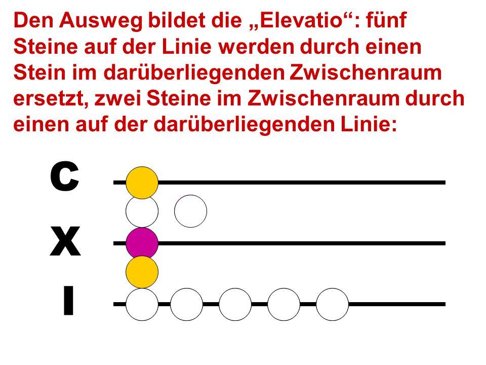 """Den Ausweg bildet die """"Elevatio : fünf Steine auf der Linie werden durch einen Stein im darüberliegenden Zwischenraum ersetzt, zwei Steine im Zwischenraum durch einen auf der darüberliegenden Linie:"""