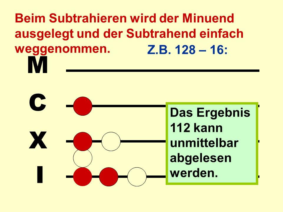 Beim Subtrahieren wird der Minuend ausgelegt und der Subtrahend einfach weggenommen.