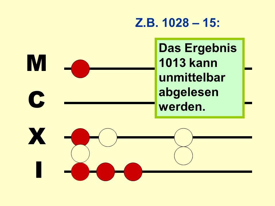 Z.B. 1028 – 15: Das Ergebnis 1013 kann unmittelbar abgelesen werden. I X C M