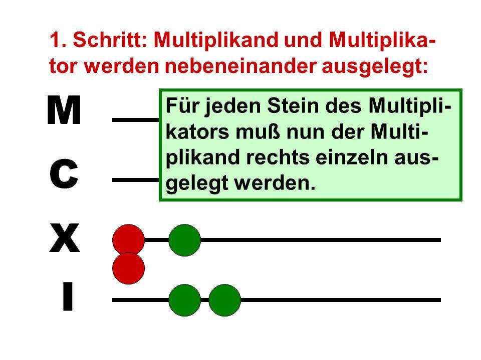1. Schritt: Multiplikand und Multiplika-tor werden nebeneinander ausgelegt:
