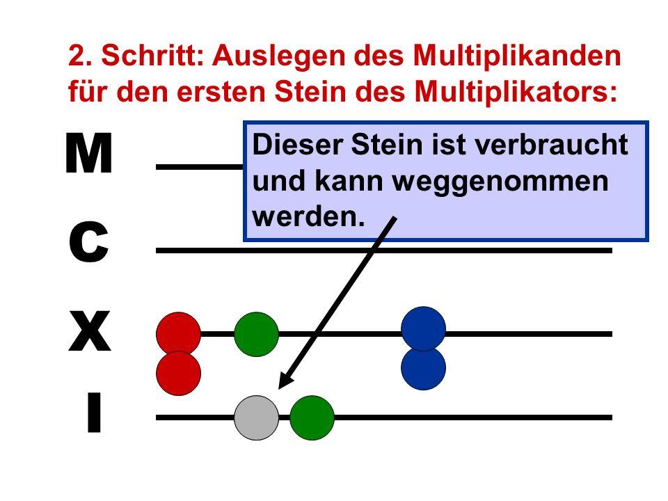 2. Schritt: Auslegen des Multiplikanden für den ersten Stein des Multiplikators:
