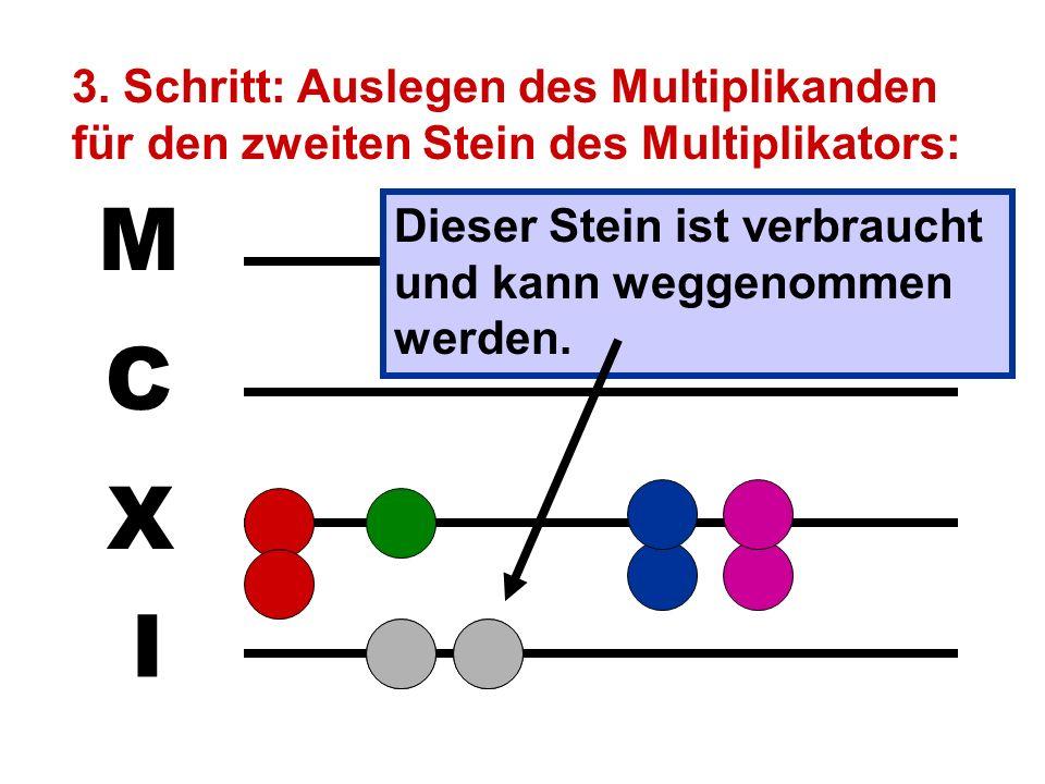 3. Schritt: Auslegen des Multiplikanden für den zweiten Stein des Multiplikators:
