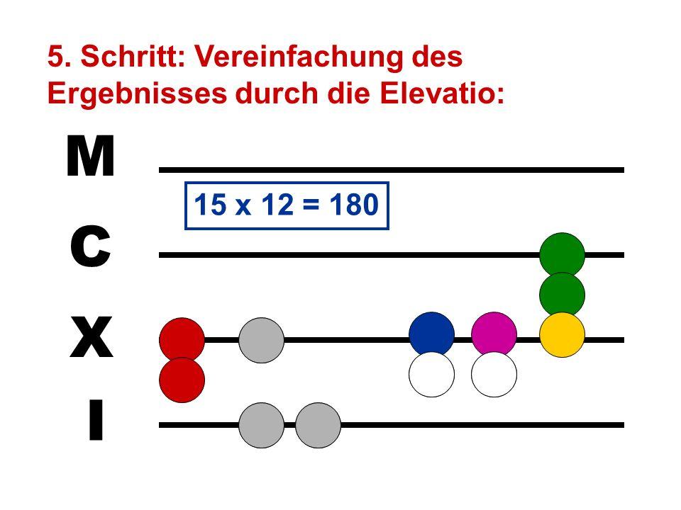 M C X I 5. Schritt: Vereinfachung des Ergebnisses durch die Elevatio: