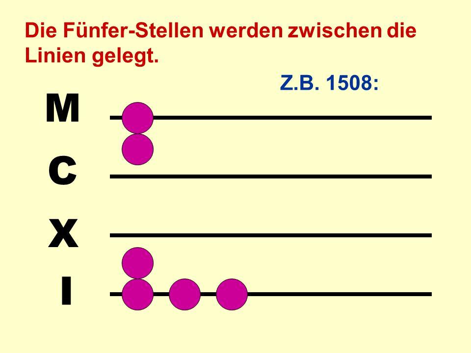 M C X I Die Fünfer-Stellen werden zwischen die Linien gelegt.