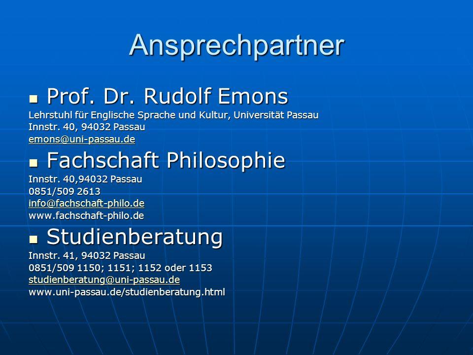 Ansprechpartner Prof. Dr. Rudolf Emons Fachschaft Philosophie