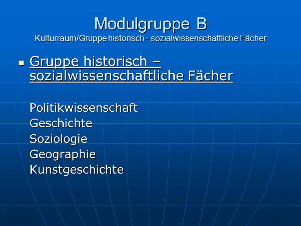 Modulgruppe B Kulturraum/Gruppe historisch - sozialwissenschaftliche Fächer