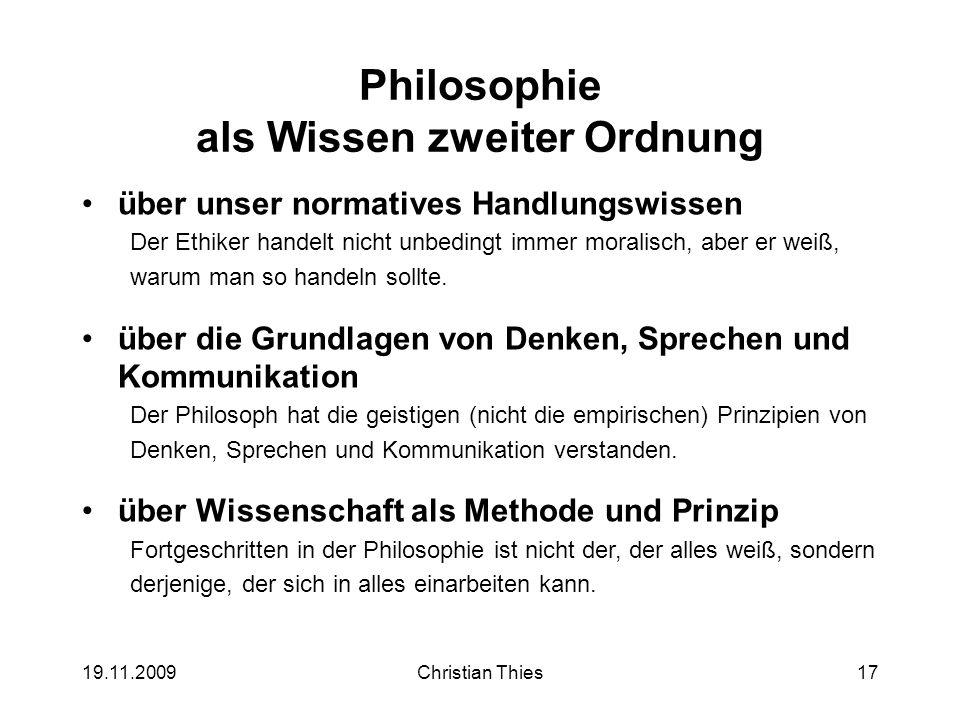 Philosophie als Wissen zweiter Ordnung