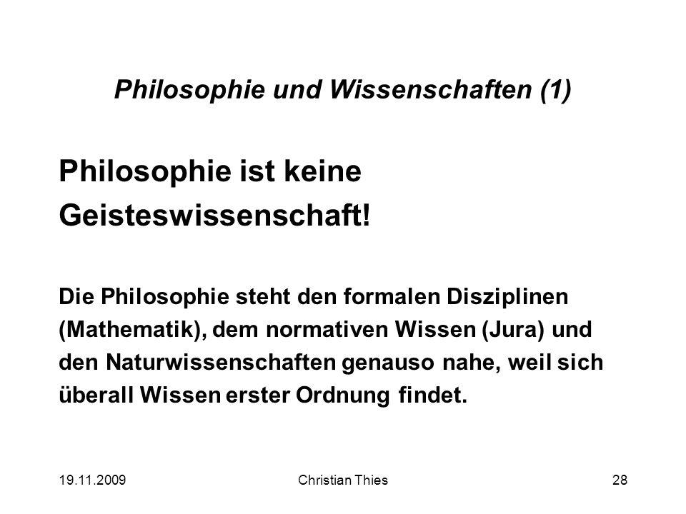 Philosophie und Wissenschaften (1)