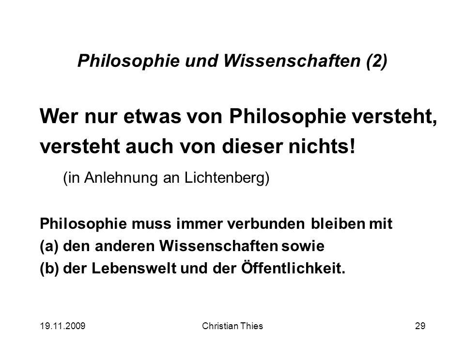 Philosophie und Wissenschaften (2)