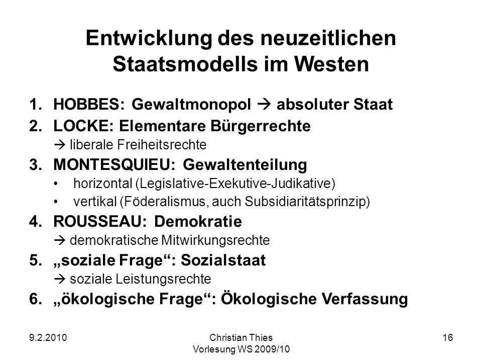 Entwicklung des neuzeitlichen Staatsmodells im Westen