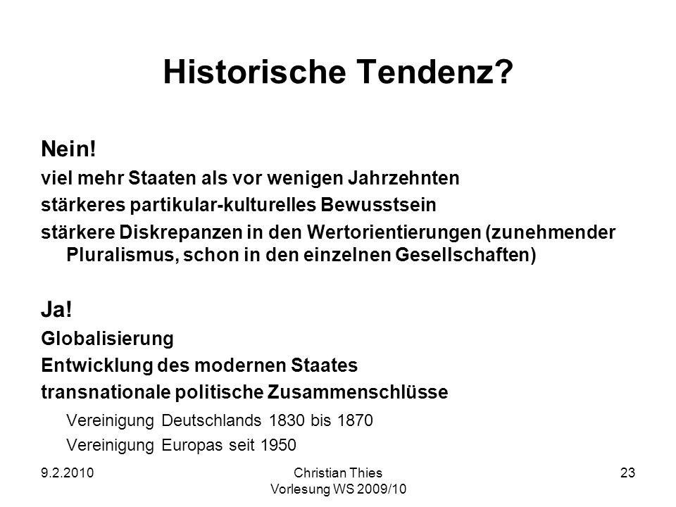 Historische Tendenz Nein! Ja!