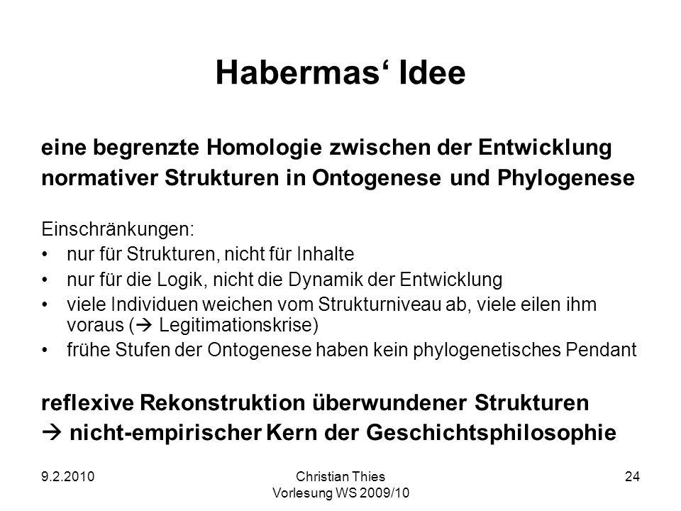 Habermas' Idee eine begrenzte Homologie zwischen der Entwicklung