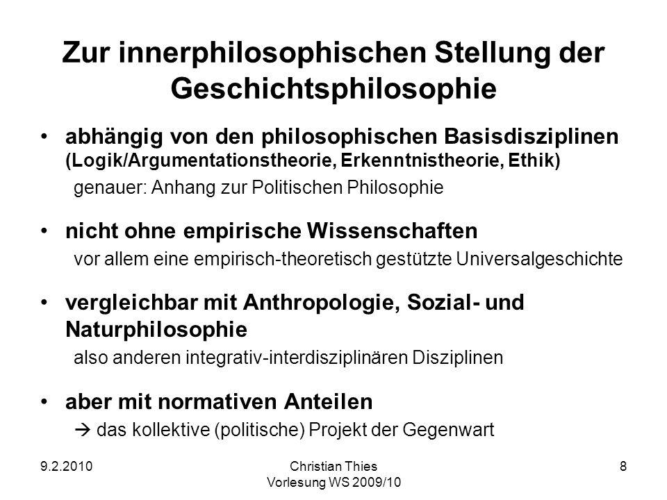 Zur innerphilosophischen Stellung der Geschichtsphilosophie