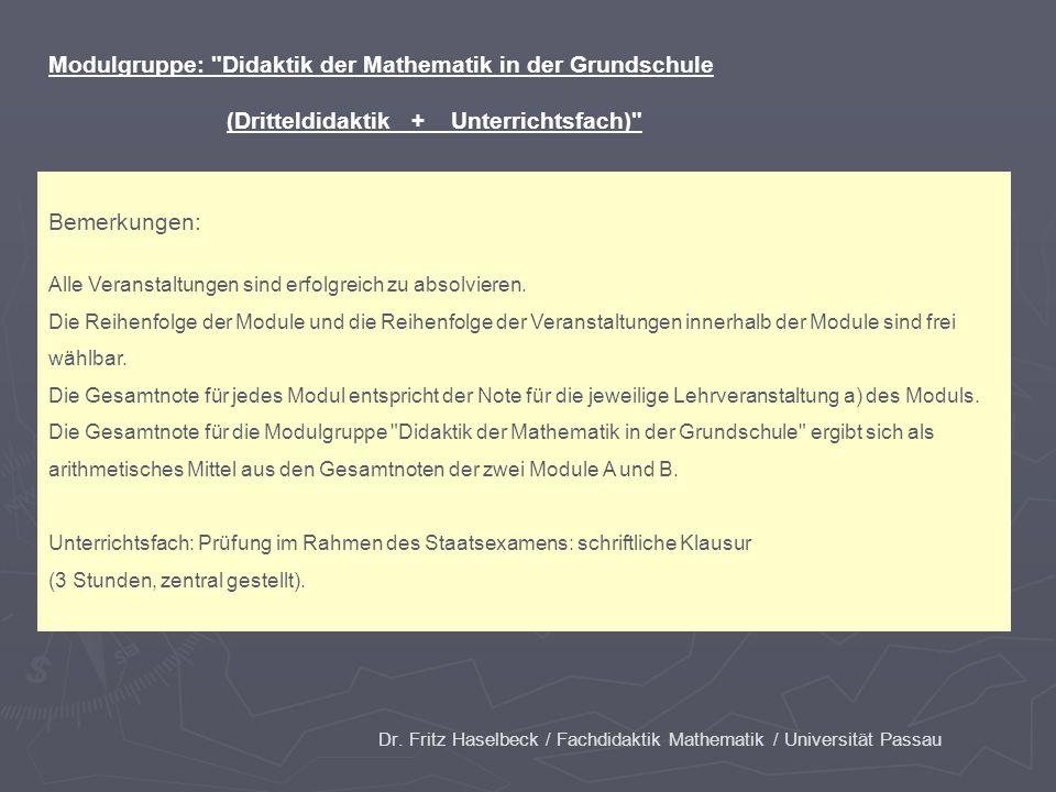 Dr. Fritz Haselbeck / Fachdidaktik Mathematik / Universität Passau