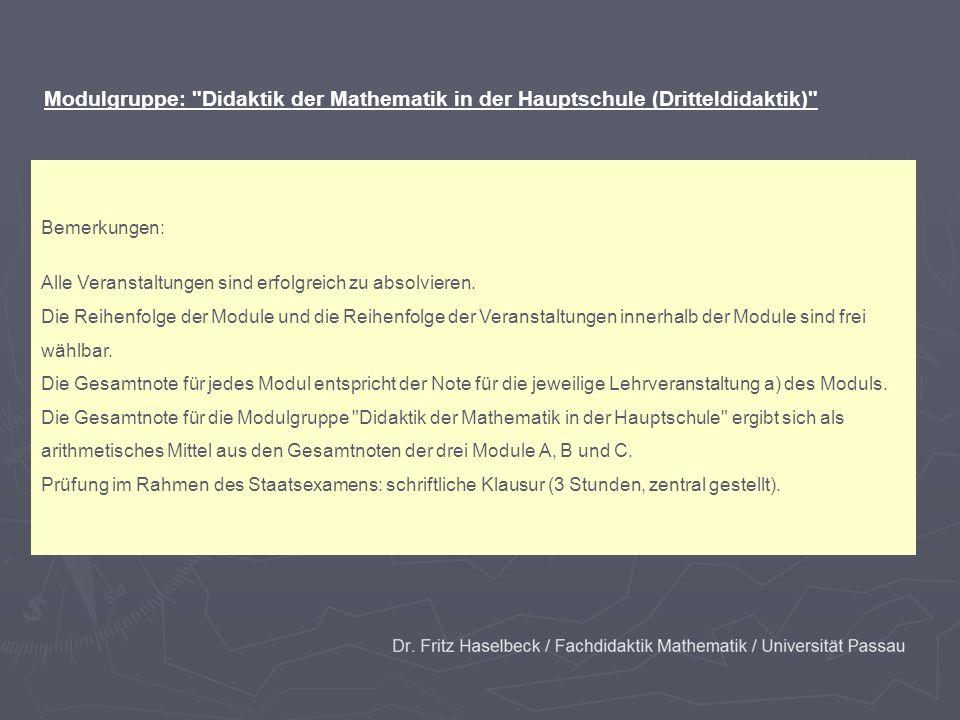 Modulgruppe: Didaktik der Mathematik in der Hauptschule (Dritteldidaktik)