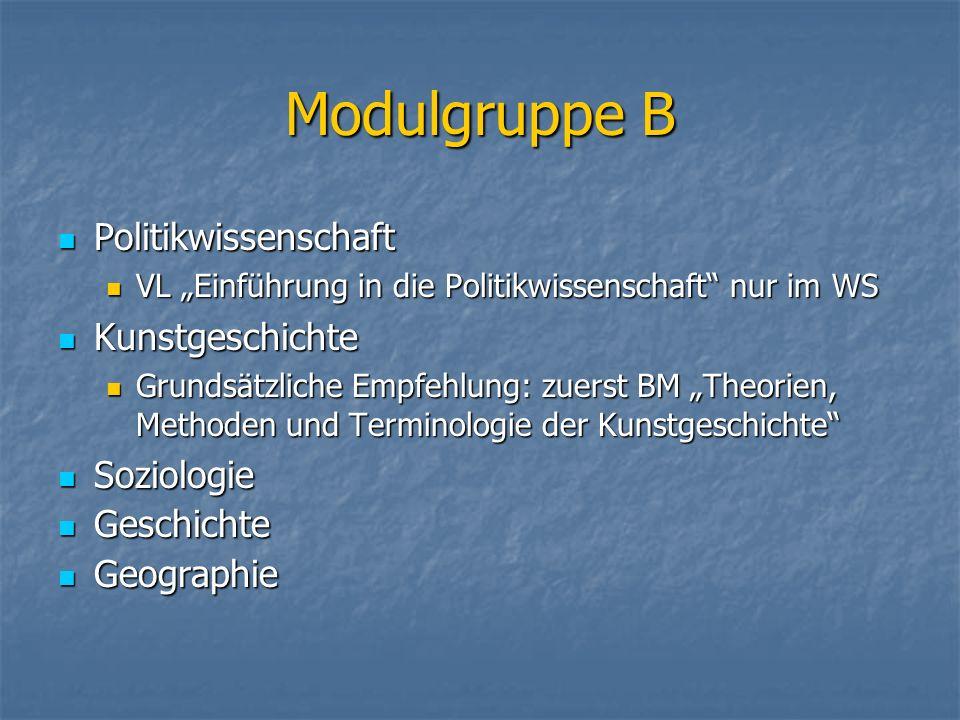 Modulgruppe B Politikwissenschaft Kunstgeschichte Soziologie