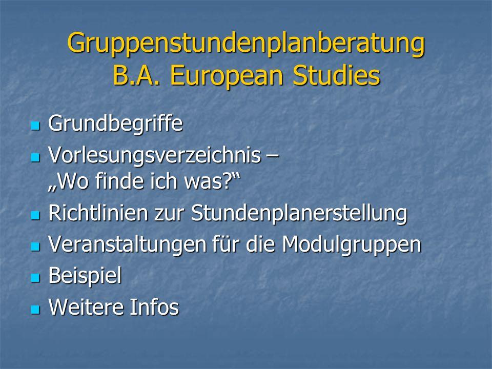 Gruppenstundenplanberatung B.A. European Studies