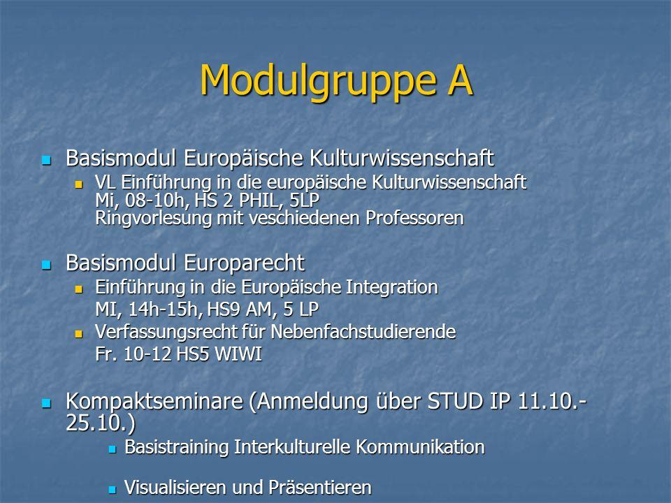 Modulgruppe A Basismodul Europäische Kulturwissenschaft